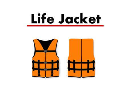 Life Jacket isolated on white background, vector art