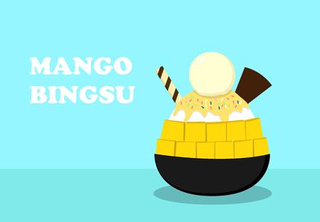 Korean dessert ; Mango bingsu on blue , vector art design