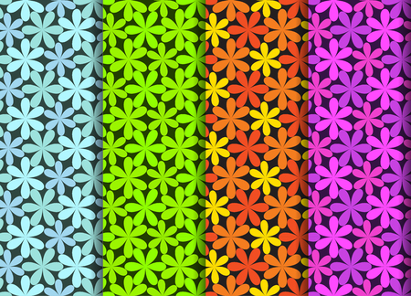 Seamless flower pattern in four color, vector art design