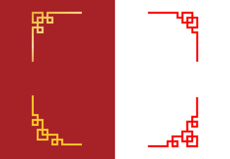 Set of Chinese corner in linear style, vector art 일러스트