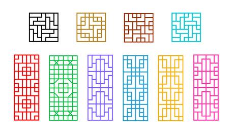 Carré et Rectangle chinois fenêtre modèle vectoriel art