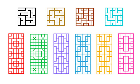 Square and Rectangle Chinese window pattern vector art