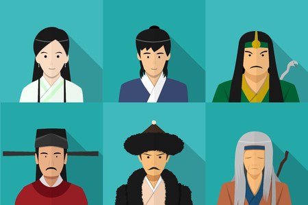 Avatar of Chinese people in flat style, vector art design 일러스트