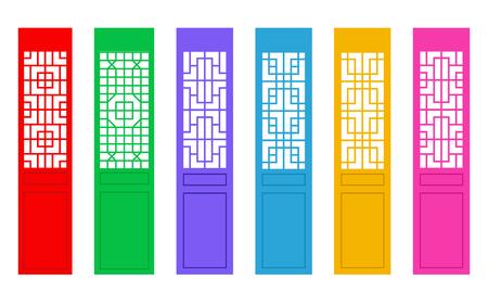 Rectangle Chinese door with pattern , vector art Illusztráció
