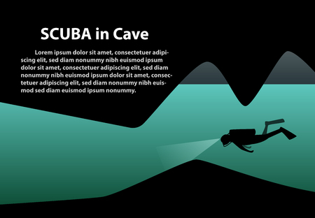 Scuba in cave background with space, vector art design