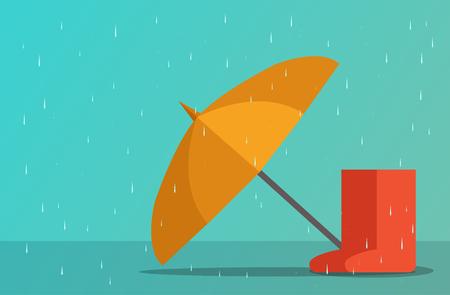 Parapluie et bottes en saison des pluies, conception d'art vectoriel
