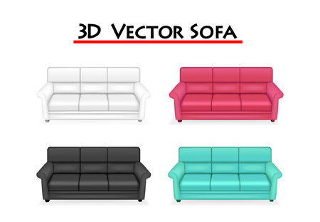 Isolated 3D Vector Sofa on white background, vector art