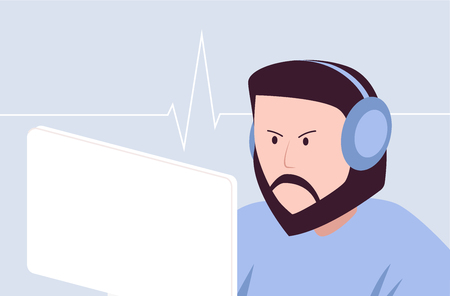 Hipster gamer with headset playing game, vector art 일러스트