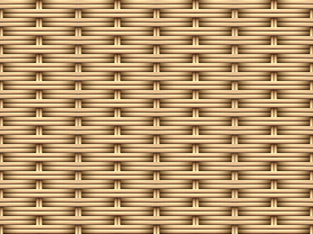 Nahtloses 3D-Muster aus braunem Rattan, Vektorkunstdesign