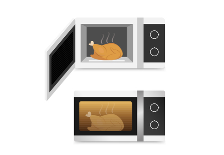 Isolated Microwave oven with chicken , vector art