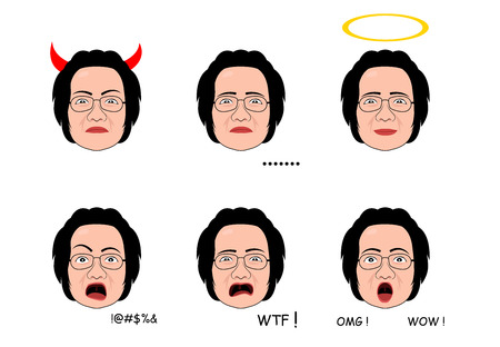 Emotion of Senior woman in cartoon style, vector art