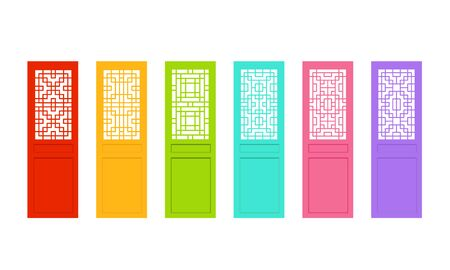 Rectangle Chinese door with asian pattern, vector art Vetores