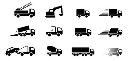 Set of truck service icon and sign, vector art design