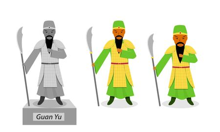 Guan yu, Chinese warrior isolated on white vector art