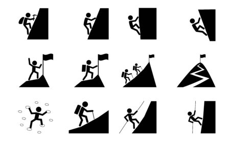Set of Hiking and climbing icon, vector art design