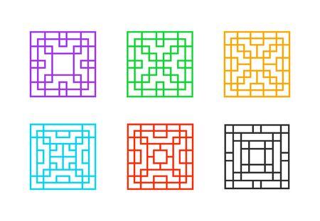 Cadre de fenêtre chinois carré sur blanc, art vectoriel