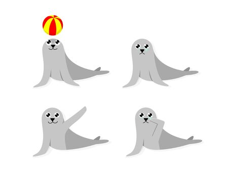 Set of cartoon seal isolated on white, vector art