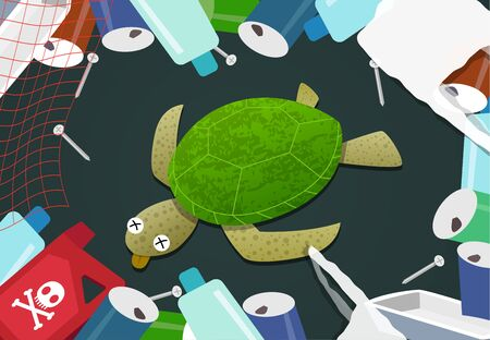 Dead turtle in pile of garbage at ocean pollution, vector 일러스트