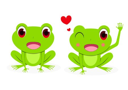Front view, Cute Female red eye tree frog, vector art