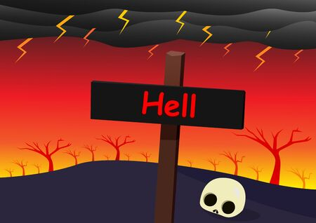 Hell landscape with signpost, skull and strom, vector