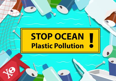 Stop ocean plastic pollution background with junk, vector