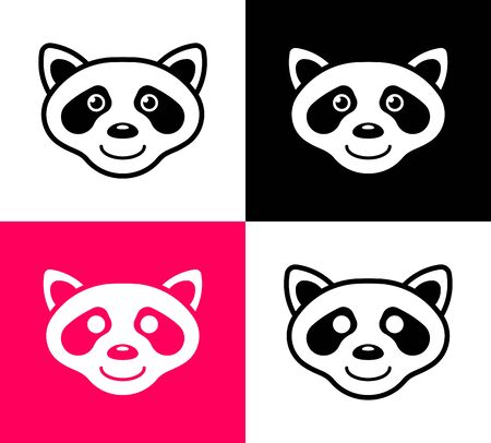 Set of raccoon icons in simple flat design, vector art