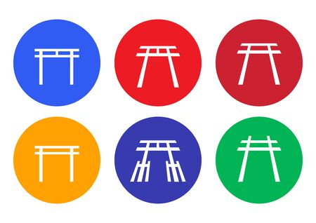 Set of Japanese Shrine icon and symbol, vector art
