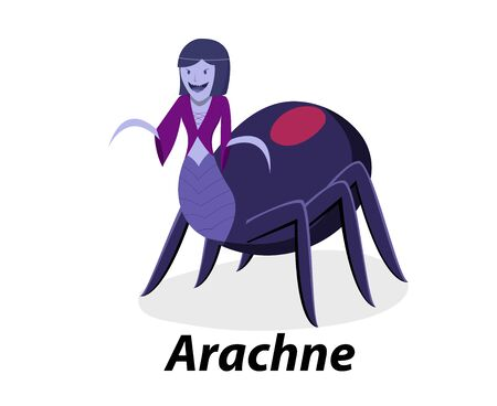 Arachne isolated on white in flat vector art design