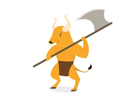 Minotaur with axe polearms in flat vector art design