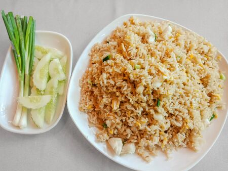 Top view Thai fried rice with clab meat on table