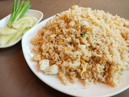 Closeup Thai fried rice with clab meat on table