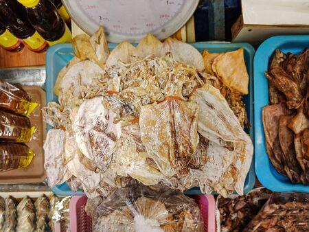 Group of Dry squid in basket, Thai food, Top view