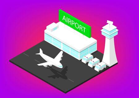 3D isometric Airport building, vector art design 矢量图像