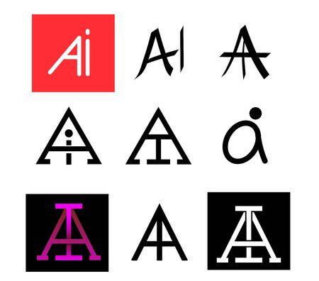 AI Text icon for symbol, vector art design 矢量图像