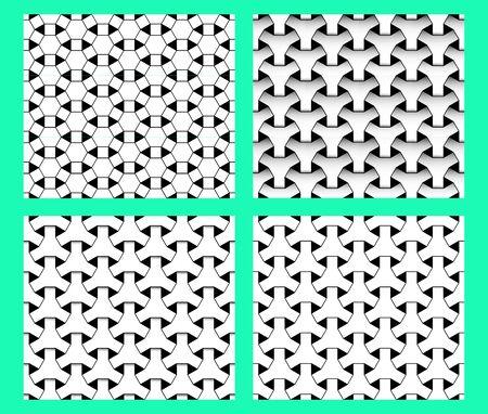 Seamless geometric stencil pattern, vector art design 矢量图像