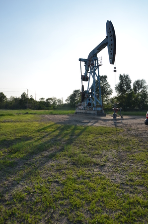 View of an oil derrick Stock Photo