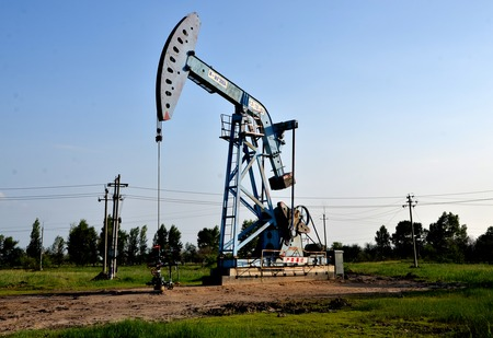 Oil derricks in a field