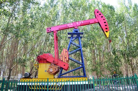 Oil derrick pump in an area