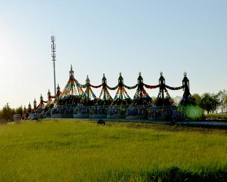 Structures with prayer flags Foto de archivo - 97295469