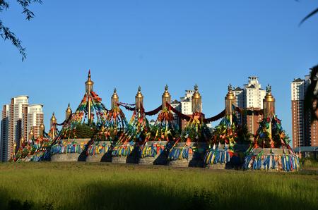 Structures with prayer flags Foto de archivo - 97768697