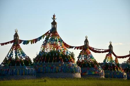 Structures with prayer flags Foto de archivo - 97841793