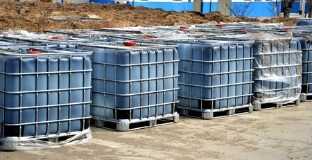 Intermediate bulk containers at outdoor