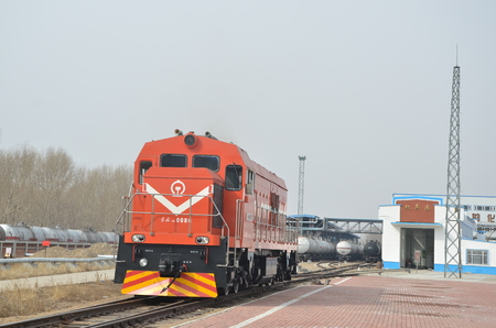 Locomotive vehicle near a chemical factory