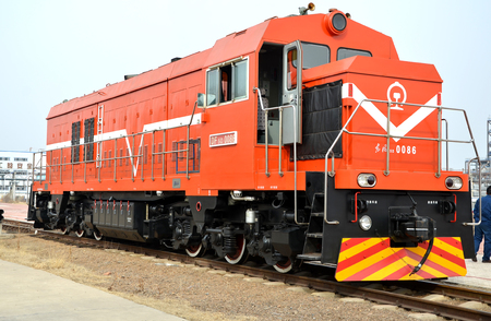 Locomotive vehicle mear a chemical factory