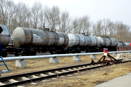 View of tank cars traveling