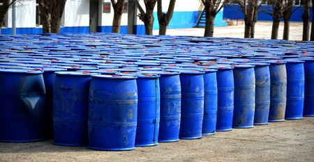 Drum containers at outdoor Stock Photo
