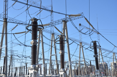electric grid: Transmission line Stock Photo