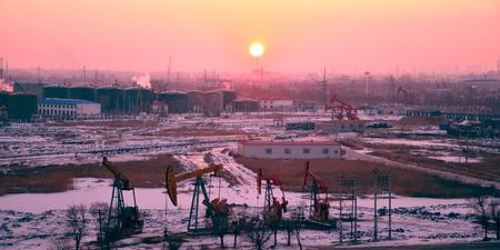 oil field: Sunrise in oil field