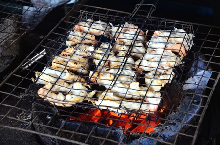 grill: Delicious Prawn Spit On Grill Stock Photo