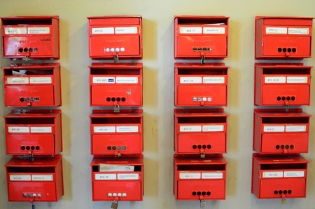 short phrase: Mailboxes in a row